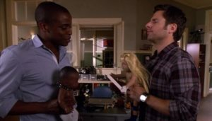 Gus and Shawn (Dulé Hill and James Roday) playing before the rumble.