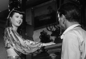 O'Shea (Stanwyck) flirting with the professors