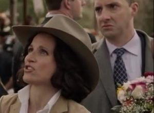 Meyer and her assistant (played by Tony Hale)